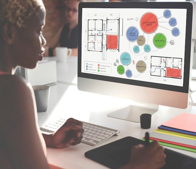 Concept de dessin de croquis de plan d'étage de bureau