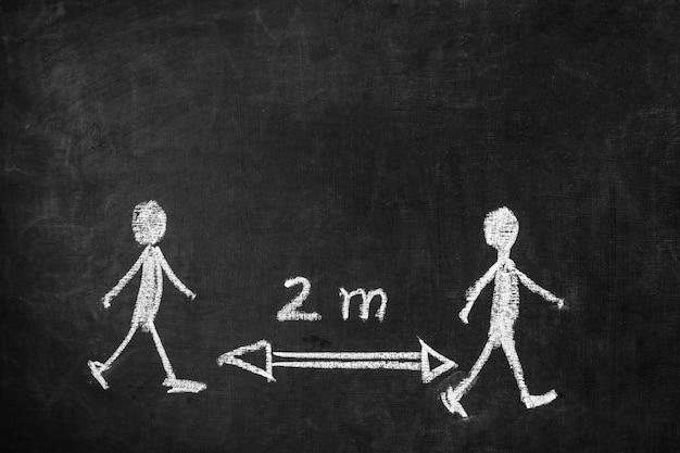 Concept de distance sociale avec tableau noir