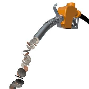 Concept avec un distributeur de carburant et des dollars