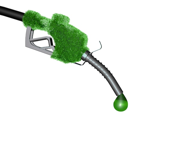 Concept avec un distributeur de carburant vert