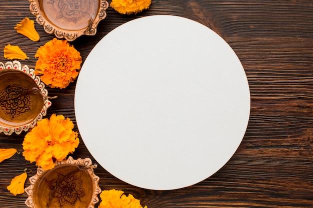 Concept diwali avec espace copie sur table