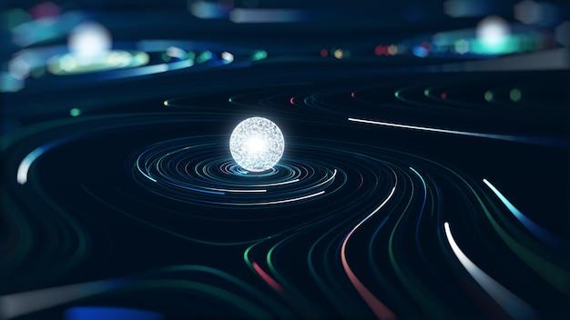 Concept de données volumineuses de technologie abstraite. graphique de mouvement pour centre de données abstrait, flux de données.