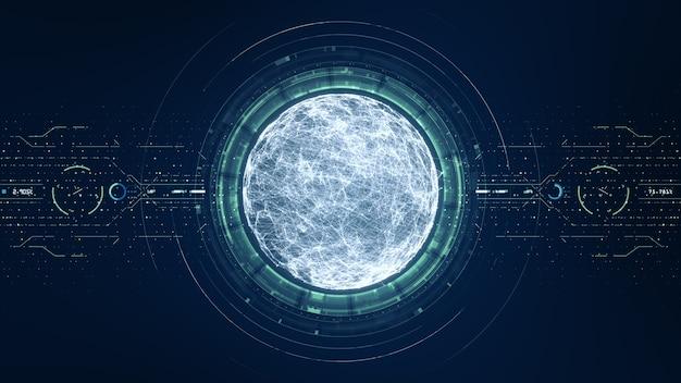 Concept de données volumineuses de technologie. interface sphérique futuriste. mouvement du flux de données numériques. transfert de big data. transfert et stockage d'ensembles de données, blockchain, serveur, internet haut débit.