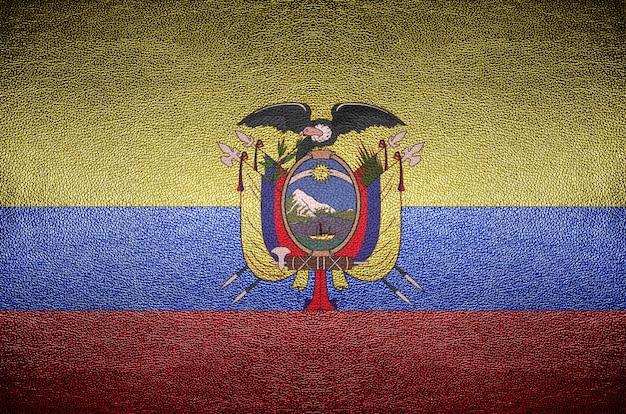 Concept de drapeau equateur écran sur cuir pvc pour le fond