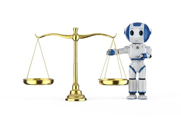 Concept de droit de cyber avec le mini robot de rendu 3d et l'échelle d'or sur le fond blanc