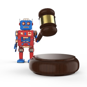 Concept de droit cybernétique avec jouet en étain robot rendu 3d avec juge marteau sur fond blanc