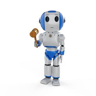 Concept de droit cybernétique avec rendu 3d mini robot hand holding gavel juge isolé