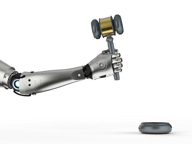 Concept de droit cybernétique avec rendu 3d robotique hand holding gavel juge sur fond blanc