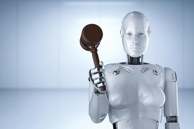 Concept de droit cybernétique avec rendu 3d robotique main tenant le juge gavel