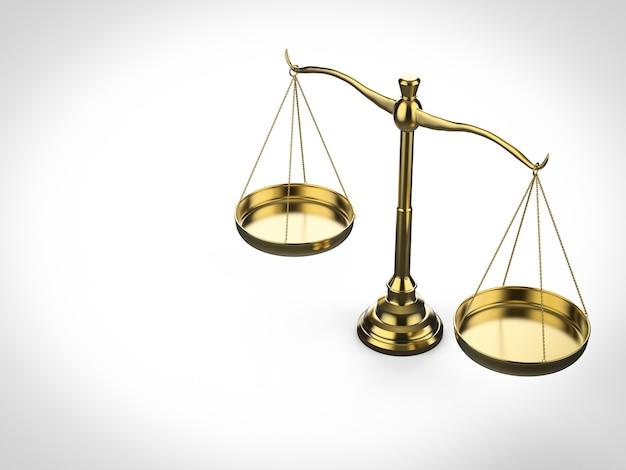 Concept de droit avec échelle de loi de rendu 3d sur fond blanc