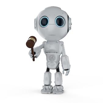 Concept de droit internet avec rendu 3d robot mignon tenir le juge gavel