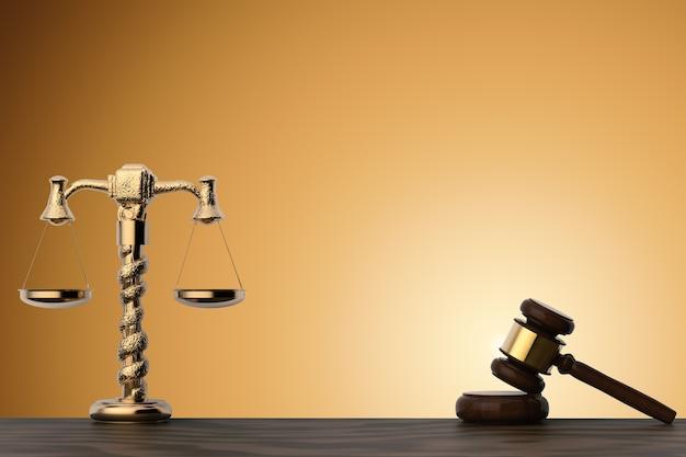 Concept de droit avec juge de marteau de rendu 3d et échelle de loi d'or