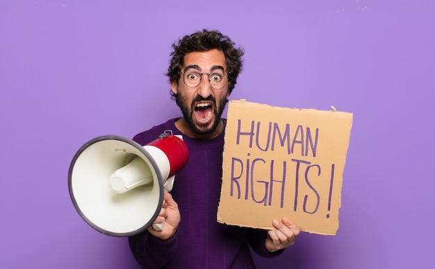 Concept des droits de l'homme jeune homme barbu