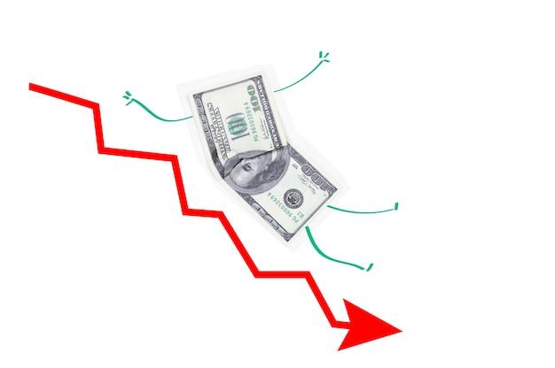 Le concept du dollar tombant à la bourse, une flèche rouge vers le bas et un billet de cent dollars volant vers le bas sur un fond blanc isolé