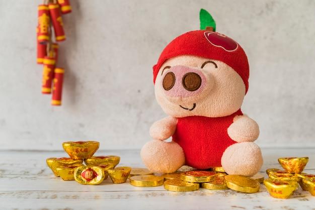 Concept du nouvel an chinois avec de l'or