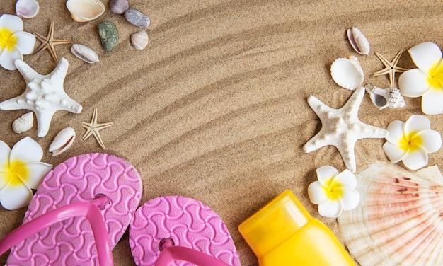 Concept du voyage d'été avec étoile de mer et coquillages sur fond de sable