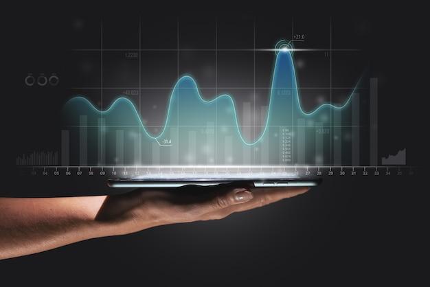 Le concept de la dynamique de développement et d'investissement dans les entreprises avec un graphique de croissance et un p...