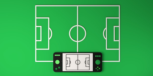 Concept d'e-sport en ligne. manette de jeu avec terrain de football. joueur. jeu. bannière. illustration 3d.