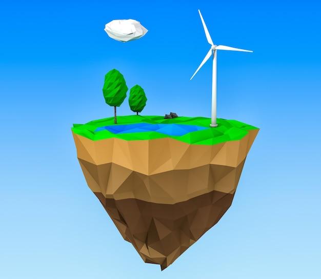 Concept d'écologie. île low poly avec moulins à vent, arbres et herbe sur fond bleu. rendu 3d