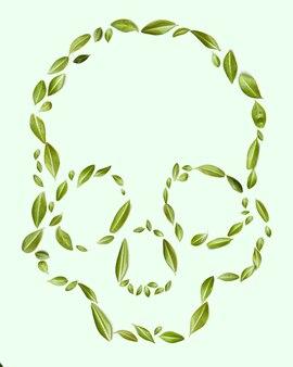 Concept écologique. un motif de feuilles vertes en forme de crâne sur un fond vert. en bonne santé