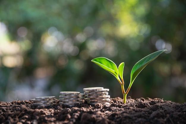 Concept d'économie d'argent avec pile de pièces d'argent en croissance pour les entreprises.