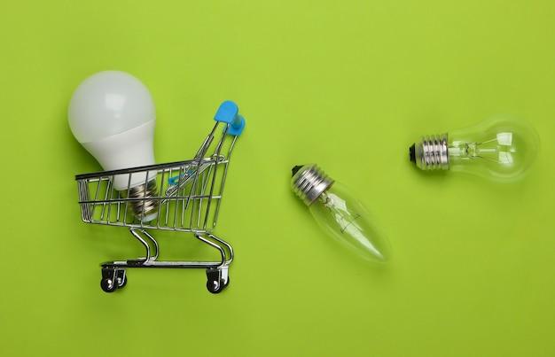 Concept d'économie d'énergie. chariot de supermarché et ampoules sur vert