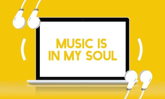Concept d'écouteurs heureux de la vie musicale