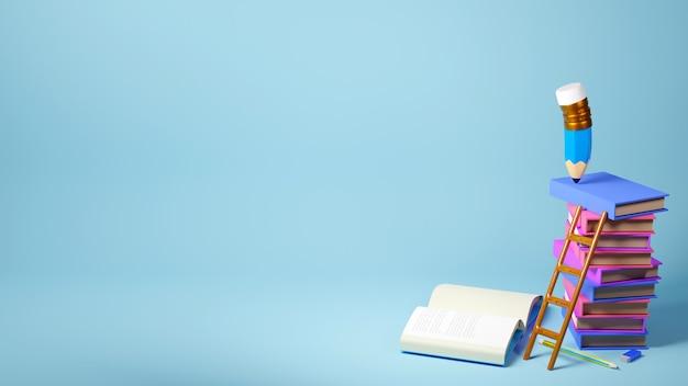 Concept éducatif. rendu 3d d'un crayon et de livres sur le mur bleu.