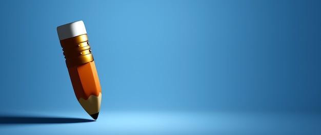 Concept éducatif. rendu 3d d'un crayon sur un mur bleu.
