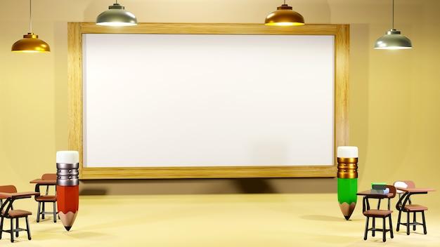 Concept éducatif. rendu 3d de crayons et de bureaux d'école dans la salle de classe.