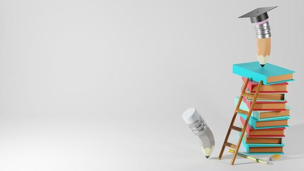 Concept éducatif. rendu 3d de crayons et de livres sur un mur blanc.