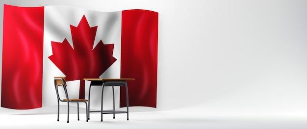 Concept d'éducation. 3d de bureau et drapeau du canada sur fond blanc.