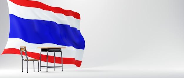 Concept d'éducation. 3d de bureau et drapeau de la thaïlande sur fond blanc.