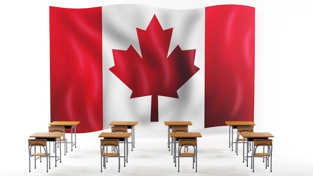 Concept d'éducation. 3d de bureaux et drapeau du canada sur fond blanc.