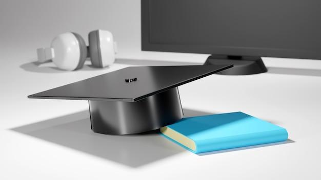 Concept d'éducation. 3d de chapeau sur livre sur fond flou. concept isométrique de design plat moderne de l'éducation. retour à l'école.