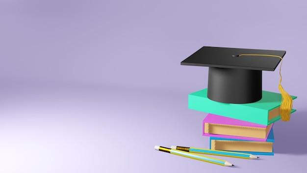 Concept d'éducation. 3d de chapeau sur des livres sur fond blanc. concept isométrique de design plat moderne de l'éducation. retour à l'école.