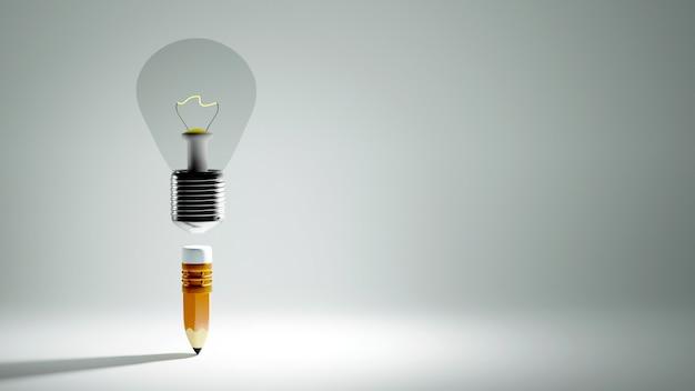 Concept d'éducation. 3d de crayon et ampoule sur fond blanc.