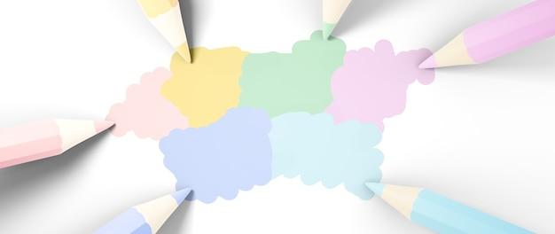 Concept d'éducation. 3d de crayons de couleur sur fond blanc.