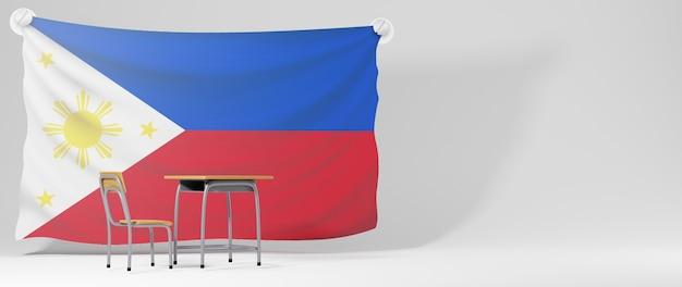 Concept d'éducation. 3d du bureau et drapeau des philippines sur fond blanc.