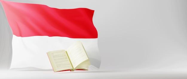 Concept d'éducation. 3d du livre et drapeau de l'indonésie sur fond blanc.