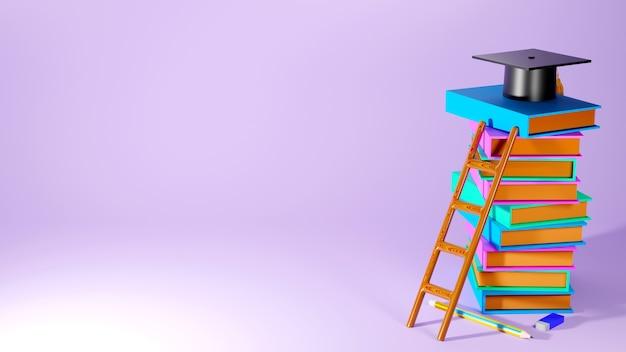 Concept d'éducation. 3d de livres, chapeau sur fond rose. concept isométrique de design plat moderne de l'éducation. retour à l'école.