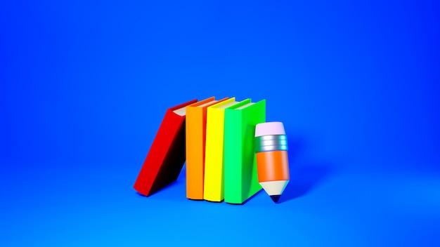 Concept d'éducation. 3d de livres et crayon sur fond bleu.