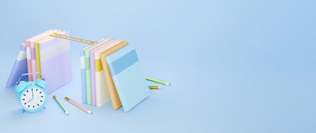 Concept d'éducation. 3d de livres et horloge sur fond bleu.
