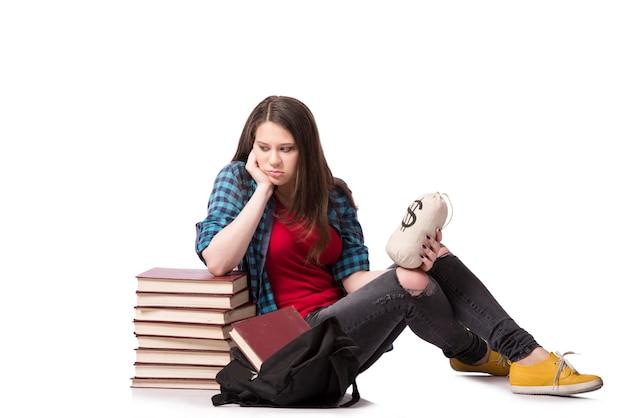 Concept d'éducation coûteuse avec une étudiante