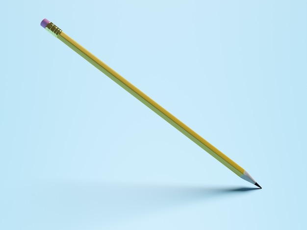 Concept d'éducation. crayon avec caoutchouc rose et ombre sur fond bleu