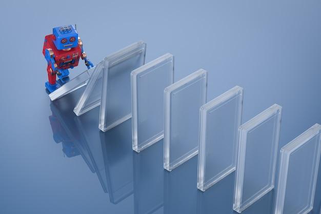 Concept d'effet de technologie avec des dominos d'effondrement de main robotique de rendu 3d