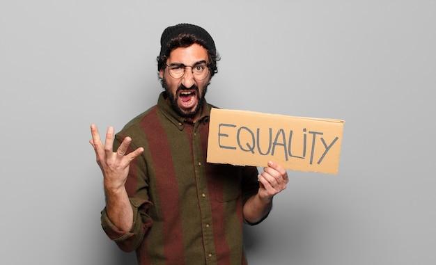 Concept d'égalité de jeune homme barbu