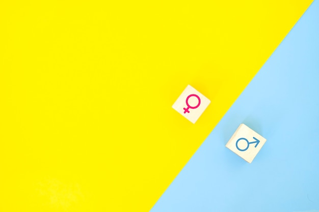 Concept d'égalité des sexes. icône de femme d'affaires et homme d'affaires sur fond jaune et bleu.