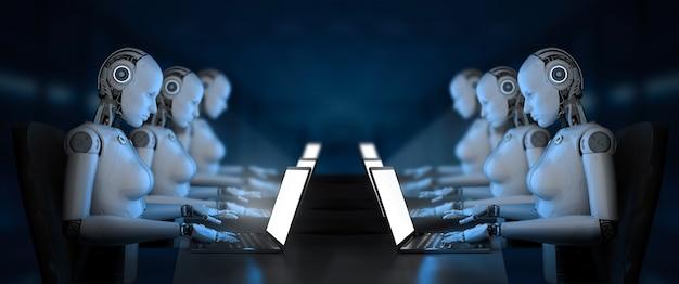 Concept d'employé de bureau d'automatisation avec un groupe de rendu 3d de cyborgs ou de robots féminins travaillant sur un ordinateur portable