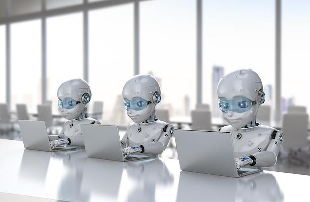 Concept d'employé de bureau d'automatisation avec un groupe de rendu 3d de robots mignons travaillant avec un ordinateur portable